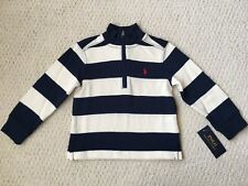 NWT $55 Ralph Lauren Boy's Navy & Cream Striped French Rib Pullover Sweater 2 2T