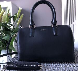 Lovely Genuine DKNY Black Leather Satchel Bag Shoulder Bag Handbag Boston style