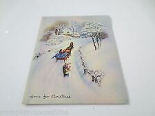 # I995- Vintage Mid Century Glitter Carraige Horse Christmas Greeting Card