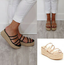 Ladies Womens Slip On Platform Wedges Espadrille Summer Mule Sandals Shoes Size