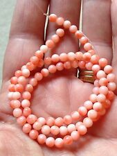 Vintage Pink Angel Skin Coral Bead Necklace As Is For Restringing 10.9 Grams 16""