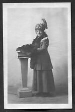 C1920s Photo Card: Lady Standing with Decorative Hat & Fur