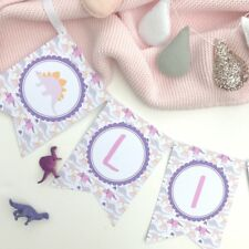 Pink Dinosaur Bunting. Birthday Party, Christening, Kids Bedroom, Girl's Party
