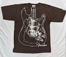 Hard Rock Cafe  T-Shirt  Fender Guitar Tee Brown Size M Medium
