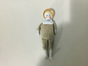 Antique China Bonnet Head Girl on cloth body with bisque half arms legs 14 cm ht