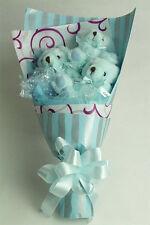 Three Piece Bear Bouquet Gift Sheaf Blue