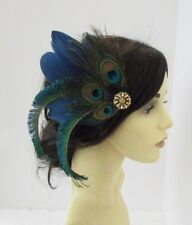 Navy Blue Green Gold Peacock Feather Fascinator Hair Clip Races 1920s 1930s 6167