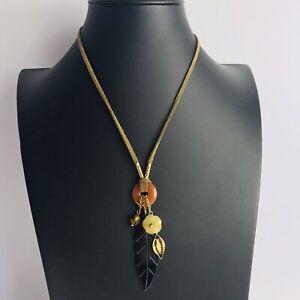 M&S Brown Suede Leaf Flower Green Orange Necklace Costume Jewellery Boho Hippie