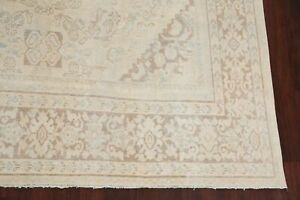 Antique Muted Light Beige 9x12 Mahal Oushak Area Rug Washed-Out Color Hand-made
