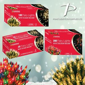 Fairy Lights Clear / Multi Colour Bulbs Christmas Party Xmas Tree Decoration