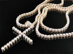 Mens 1 Row Rose Pink Gold Diamond Tennis Chain with Matching Diamond Cross 15 Ct