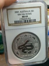 2001 NGC MS69 Australia 1 Oz Silver Lunar Year of the Snake $1 Coin Bullion