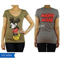 New Disney Gray Khaki Mickey Mouse Logo Print Color Cotton T Shirt Top Junior