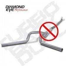 "Diamond Eye 4"" Al Down Pipe Back Dual Exhaust No Muf 01-07 Chevy GMC 6.6L Diesel"