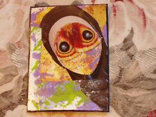 Masked, What Will We Become? Mixed media collage art card Aceo Original art