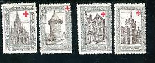 Vintage Poster Stamp set of 4  COMITE DE ROUEN Delandre Blesses Militaires