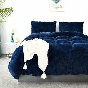 Duvet Cover Queen, Sapphire Blue Velvet Duvet Cover Set, Soft Fluffy Plush Shagg