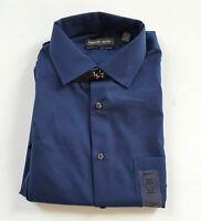 Geoffrey Beene Men's Classic Fit Wrinkle Free Bedford Cord Dress Shirt Blue, M