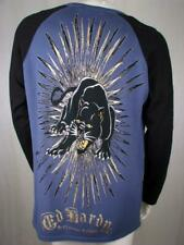 Ed Hardy Men's Sweater Born Free Panther Studded, Blue, Black, L, Large