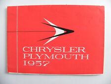 Brochure CHRYSLER PLYMOUTH 1957 pour la Belgique