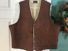 Men's Vintage WRANGLER Faux Leather Brown Vest Size XL  (CON5)