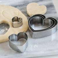 5 Piece Metal Cookie Cutter Set Heart Shape Biscuit Cake Pastry Baking Mold Tool