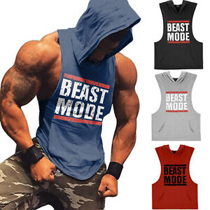 Men Athletic Gym Muscle Workout Lightweight Fitness Sleeveless Hoodies Tank