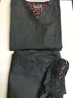 Womens Stylish V-Neck Medical Hospital Nursing Uniform Scrub Set Top Pants