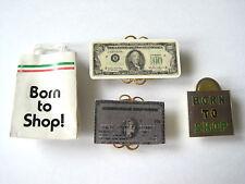 4 Pc Born To Shop Theme Card Money Shopping Bag Enamel Button Cover Set