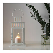 IKEA BORRBY NEW WHITE STEEL LANTERN For Block Candles Home / Garden 28cm Tall