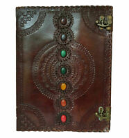 Seven Chakra Medieval Stone Embossed Handmade Leather Journal Book of Shadows