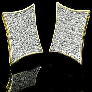 New Mens 14k Yellow Gold Finish Lab Diamond Kite Square Screw Back Stud Earrings