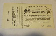 1962 Baltimore Orioles Memorial Stadium Junior and Cub Baseball Day Full Ticket