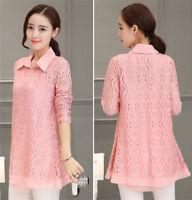 Plus Size Lace Chiffon Shirt Tunic New Womens Ladies Loose Two Piece Blouse Tops