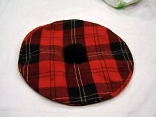 Ramsey red buffalo plaid beret, made in Canada
