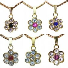 6 Gold Black Pink Blue Red Purple Crystal Diamante Flower Party Necklace Pendant