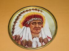 "Vintage 11"" Across Metal Indian Chief Serving Tray"