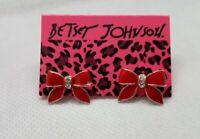 Betsey Johnson Enamel Red Rhinestone Bow Stud Earrings