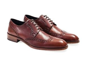 Mens Oxford  Shoes. With Brogue Detailing. 100% Leather. Made In Italy
