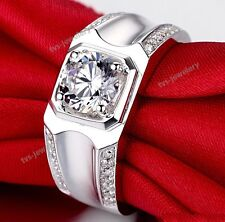Mens 10k White Gold Finish Solitaire Diamond Wedding Engagement Band Ring 1.20Ct