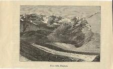 Stampa antica MONTE DISGRAZIA Valmalenco Valtellina Sondrio 1890 Antique print