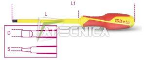 Giravite piatto Beta 1274MQ isolato 1000V con intaglio 1,6x10x200 rivestito grip