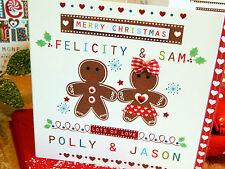 PAN De Jengibre Hombre Navidad Personalizado de tarjeta para tarjeta especial de Navidad Par