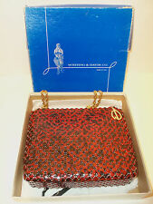 RARE Vintage Whiting & Davis Enameled Mesh Alumesh Handbag Purse NOS New In Box