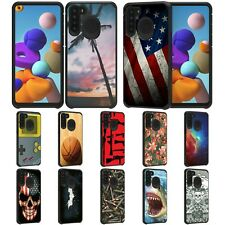 For Samsung Galaxy A21 Hybrid Dual Layer Fitted Protective Slim Case