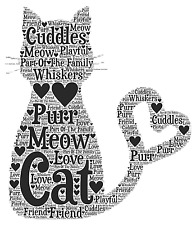 Personalised Word Art Family Pet CAT Birthday Christmas Thankyou Memory Gift
