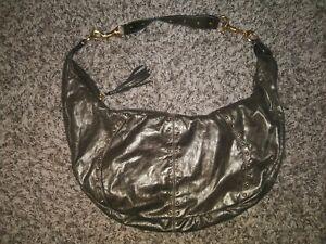 Fossil Hobo Bag Metallic Soft Leather Tassel Detail Purse