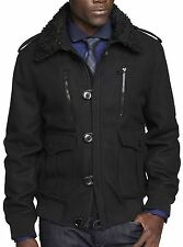 New EXPRESS Men's Black Military Wool Bomber Coat Jacket, S, nwt, $230 *LAST ONE