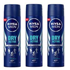 (25,44€/L) 3x 150ml Nivea MEN DRY ACTIVE Anti Transpirant Deo Spray 48h protect