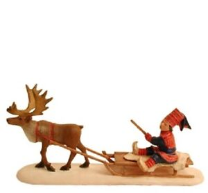 Candy Designs Norway Lapp on Sled Reindeer Figure, NEW